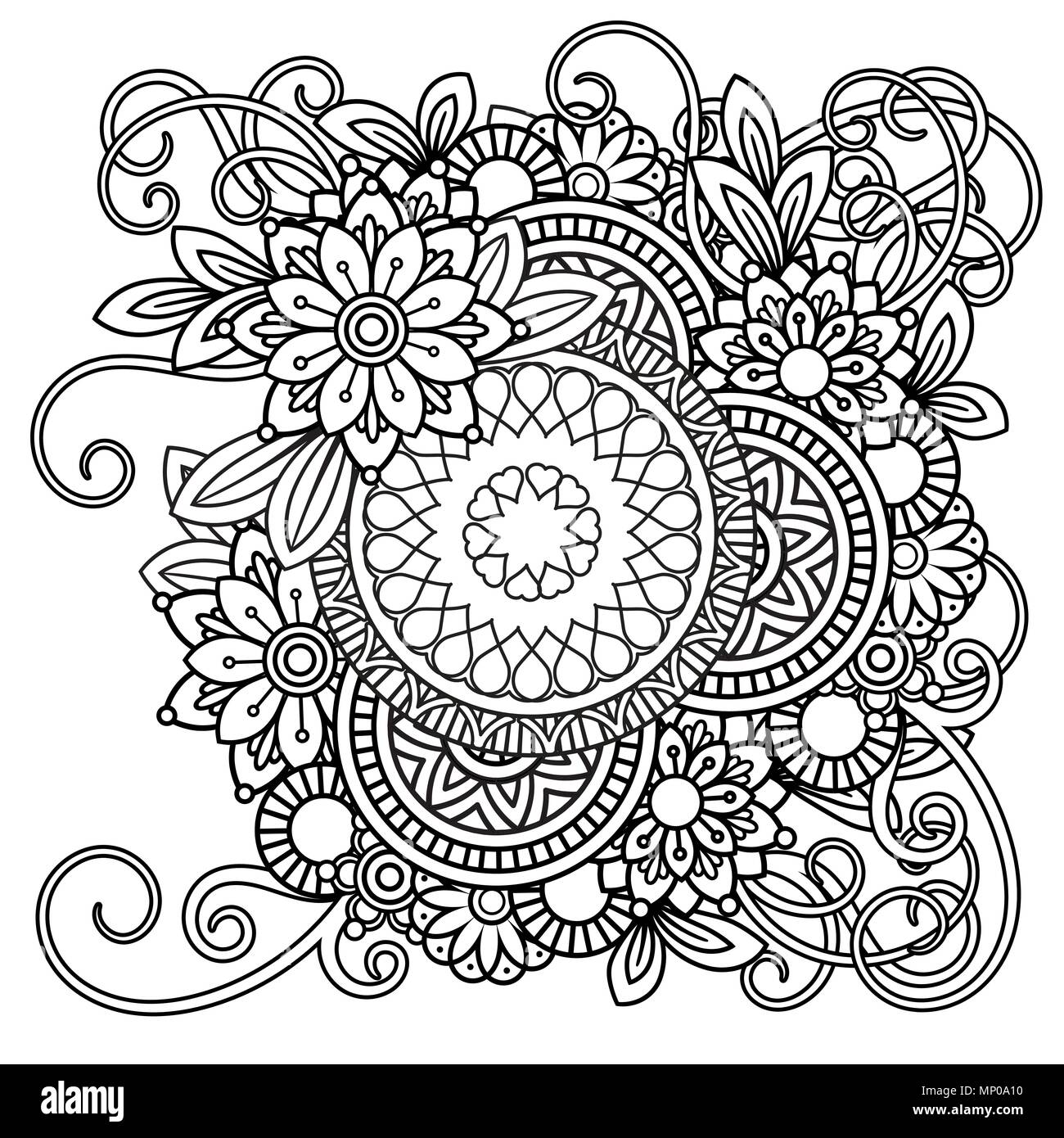 Adult coloring page with flowers pattern. Black and white doodle ...