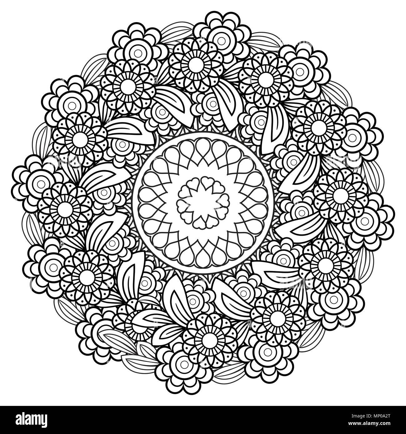 Adult Coloring Page With Flowers Pattern Black And White Doodle Wreath Floral Mandala Bouquet Line Art Vector Illustration Isolated On Background