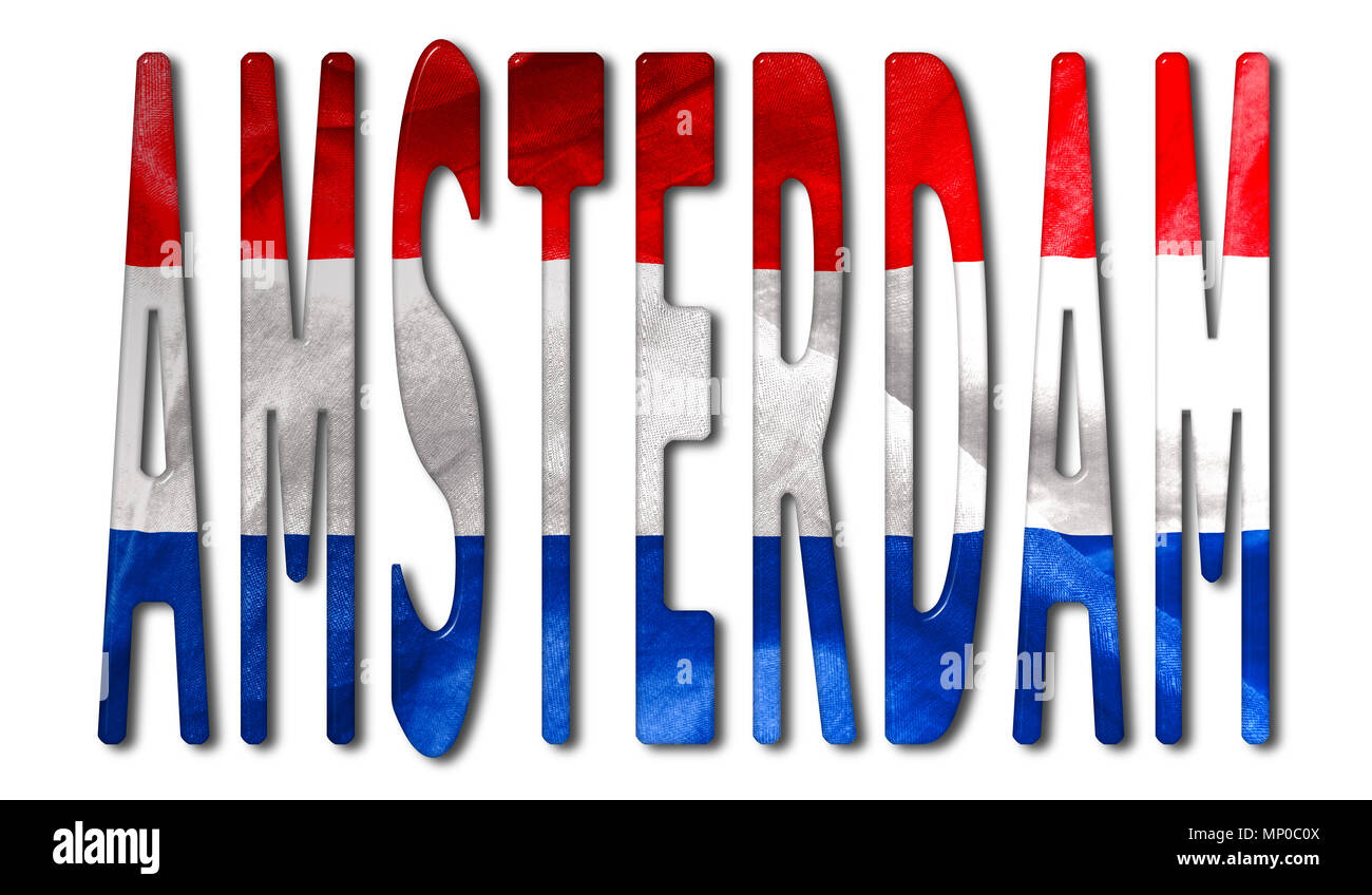 Amsterdam word with a bevelled Netherlands flag texture on an isolated white background with a clipping path with and without shadows - Stock Image