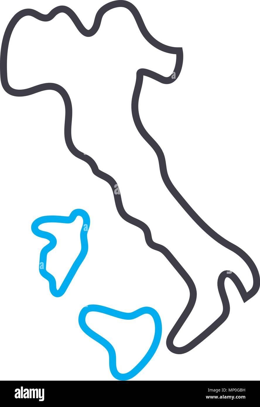 Apennine peninsula linear icon concept. Apennine peninsula line vector sign, symbol, illustration. - Stock Vector