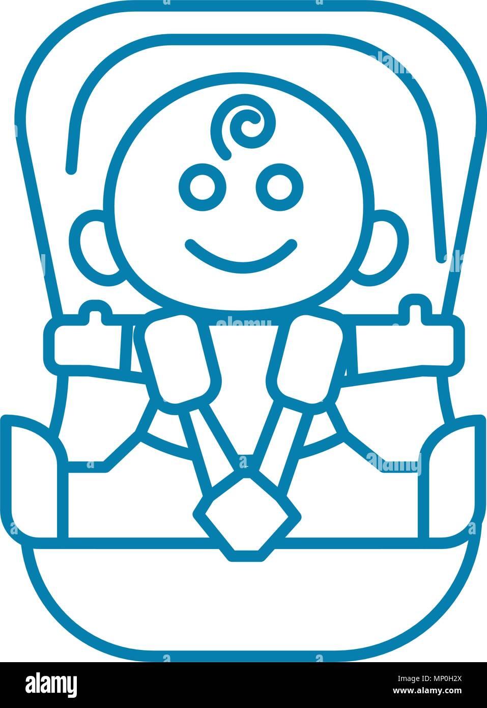 Child Car Seat Linear Icon Concept Line Vector Sign Symbol