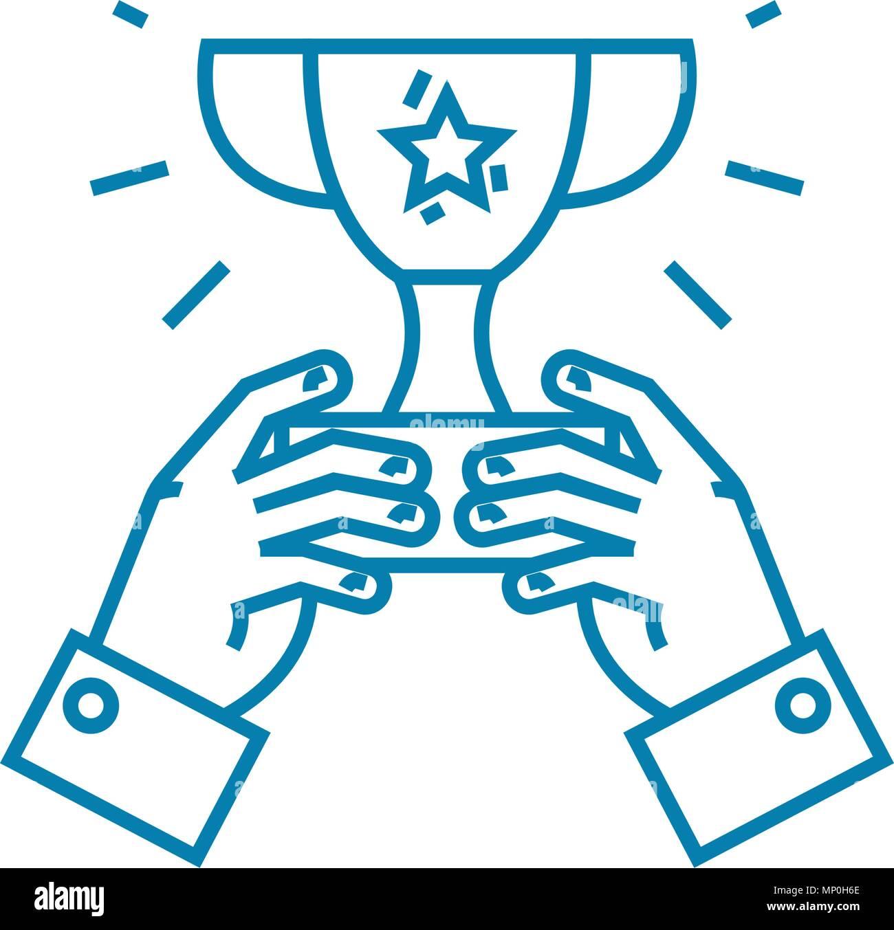 Common achievement linear icon concept. Common achievement line vector sign, symbol, illustration. - Stock Image