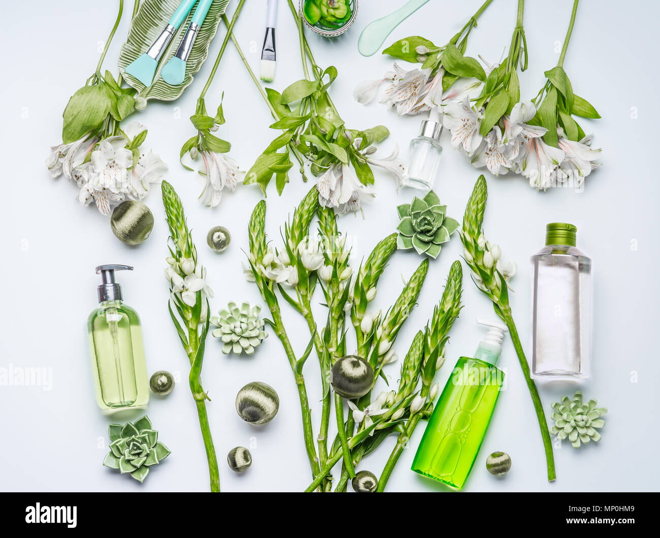 Green Herbal Natural Cosmetic Setting With Bottles Of Facial Toner