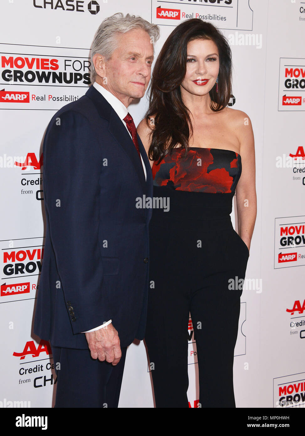 Michael Douglas, Catherine Zeta Jones 015 at the Movies For Grow Ups - AARP - at the Beverly Wilshire Hotel in Los Angeles. February 8, 2016.Michael Douglas, Catherine Zeta Jones 015 ------------- Red Carpet Event, Vertical, USA, Film Industry, Celebrities,  Photography, Bestof, Arts Culture and Entertainment, Topix Celebrities fashion /  Vertical, Best of, Event in Hollywood Life - California,  Red Carpet and backstage, USA, Film Industry, Celebrities,  movie celebrities, TV celebrities, Music celebrities, Photography, Bestof, Arts Culture and Entertainment,  Topix, vertical,  family from fro - Stock Image