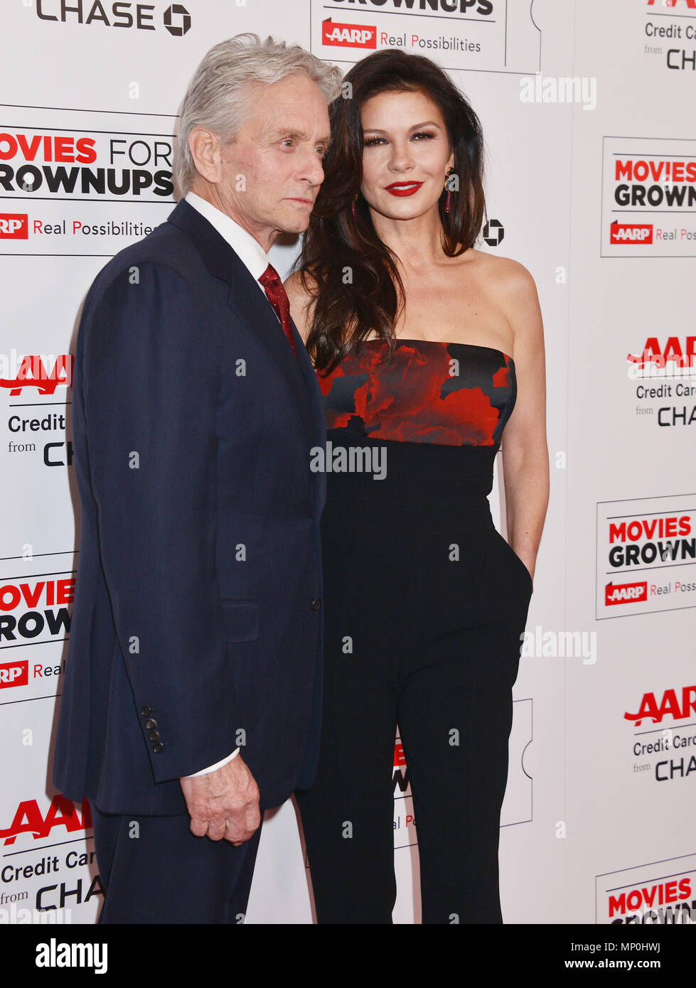 Michael Douglas, Catherine Zeta Jones 016 at the Movies For Grow Ups - AARP - at the Beverly Wilshire Hotel in Los Angeles. February 8, 2016.Michael Douglas, Catherine Zeta Jones 016 ------------- Red Carpet Event, Vertical, USA, Film Industry, Celebrities,  Photography, Bestof, Arts Culture and Entertainment, Topix Celebrities fashion /  Vertical, Best of, Event in Hollywood Life - California,  Red Carpet and backstage, USA, Film Industry, Celebrities,  movie celebrities, TV celebrities, Music celebrities, Photography, Bestof, Arts Culture and Entertainment,  Topix, vertical,  family from fro - Stock Image