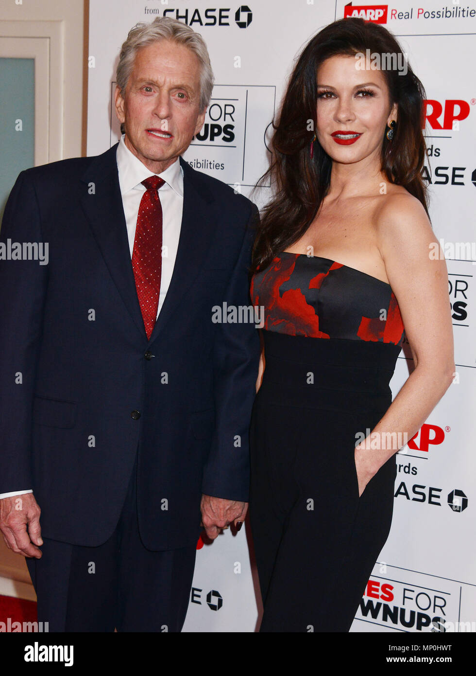 Michael Douglas, Catherine Zeta Jones 048 at the Movies For Grow Ups - AARP - at the Beverly Wilshire Hotel in Los Angeles. February 8, 2016.Michael Douglas, Catherine Zeta Jones 048 ------------- Red Carpet Event, Vertical, USA, Film Industry, Celebrities,  Photography, Bestof, Arts Culture and Entertainment, Topix Celebrities fashion /  Vertical, Best of, Event in Hollywood Life - California,  Red Carpet and backstage, USA, Film Industry, Celebrities,  movie celebrities, TV celebrities, Music celebrities, Photography, Bestof, Arts Culture and Entertainment,  Topix, vertical,  family from fro - Stock Image