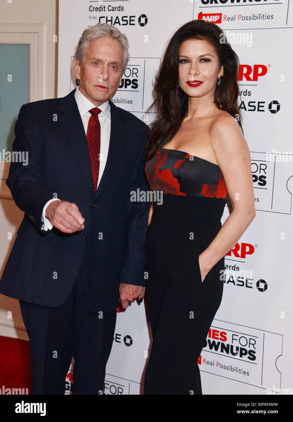 Michael Douglas, Catherine Zeta Jones 049 at the Movies For Grow Ups - AARP - at the Beverly Wilshire Hotel in Los Angeles. February 8, 2016.Michael Douglas, Catherine Zeta Jones 049 ------------- Red Carpet Event, Vertical, USA, Film Industry, Celebrities,  Photography, Bestof, Arts Culture and Entertainment, Topix Celebrities fashion /  Vertical, Best of, Event in Hollywood Life - California,  Red Carpet and backstage, USA, Film Industry, Celebrities,  movie celebrities, TV celebrities, Music celebrities, Photography, Bestof, Arts Culture and Entertainment,  Topix, vertical,  family from fro - Stock Image