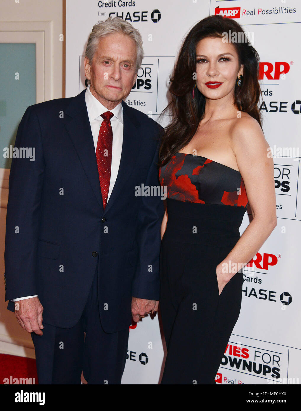 Michael Douglas, Catherine Zeta Jones 050 at the Movies For Grow Ups - AARP - at the Beverly Wilshire Hotel in Los Angeles. February 8, 2016.Michael Douglas, Catherine Zeta Jones 050 ------------- Red Carpet Event, Vertical, USA, Film Industry, Celebrities,  Photography, Bestof, Arts Culture and Entertainment, Topix Celebrities fashion /  Vertical, Best of, Event in Hollywood Life - California,  Red Carpet and backstage, USA, Film Industry, Celebrities,  movie celebrities, TV celebrities, Music celebrities, Photography, Bestof, Arts Culture and Entertainment,  Topix, vertical,  family from fro - Stock Image