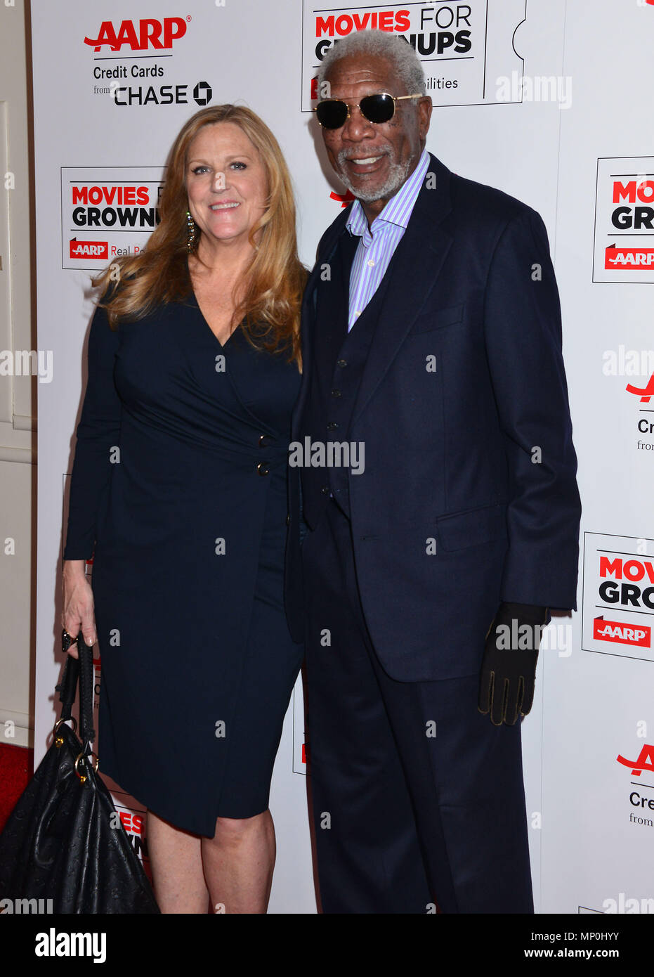 Morgan Freeman, Lori McCreary at the Movies For Grow Ups - AARP - at the Beverly Wilshire Hotel in Los Angeles. February 8, 2016.Morgan Freeman, Lori McCreary ------------- Red Carpet Event, Vertical, USA, Film Industry, Celebrities,  Photography, Bestof, Arts Culture and Entertainment, Topix Celebrities fashion /  Vertical, Best of, Event in Hollywood Life - California,  Red Carpet and backstage, USA, Film Industry, Celebrities,  movie celebrities, TV celebrities, Music celebrities, Photography, Bestof, Arts Culture and Entertainment,  Topix, vertical,  family from from the year , 2016, inqui - Stock Image