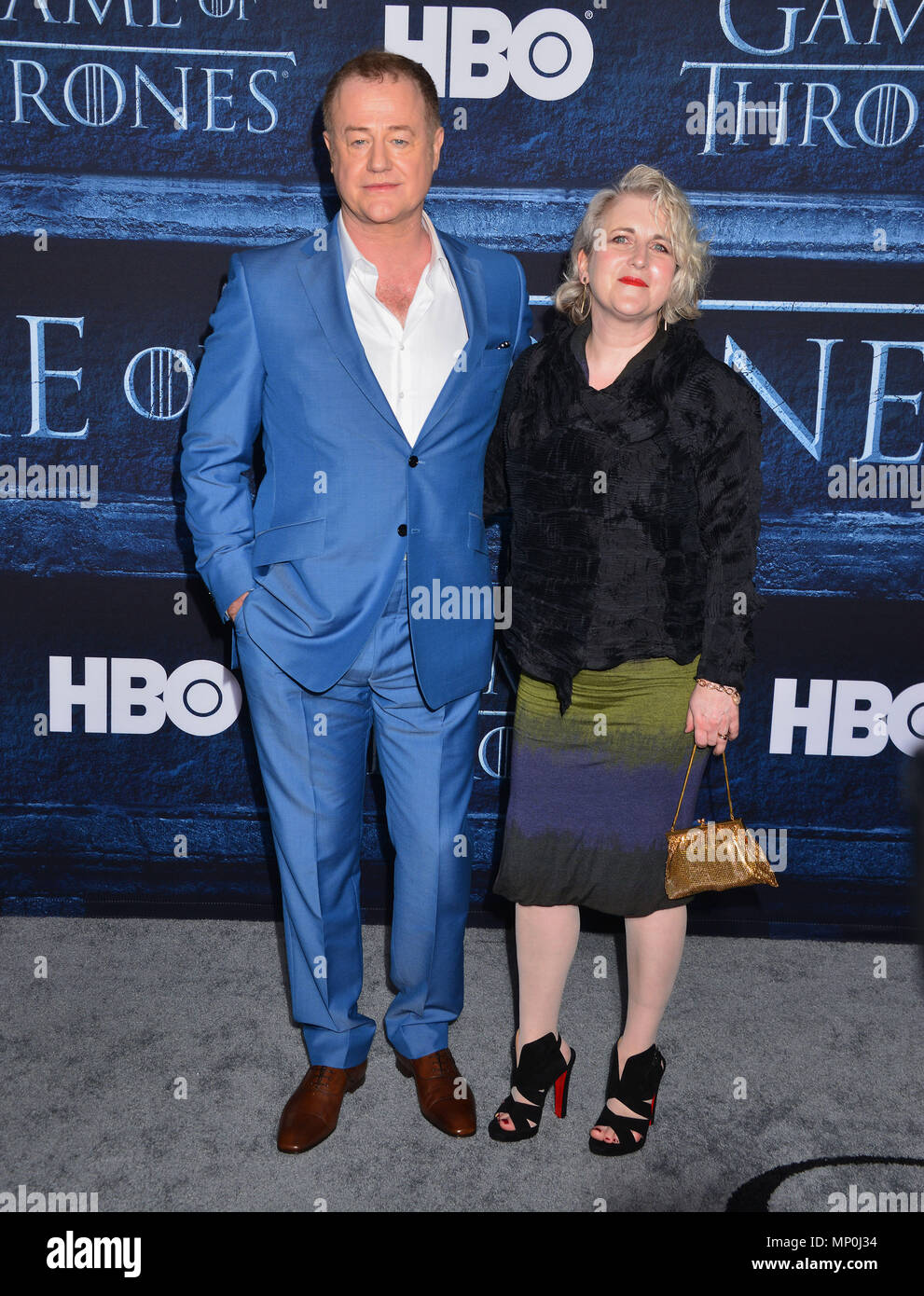 Owen Teale 328 arriving at the Game of Thrones at the TCL Chinese Theatre in Los Angeles. April 10, 2016.Owen Teale 328 ------------- Red Carpet Event, Vertical, USA, Film Industry, Celebrities,  Photography, Bestof, Arts Culture and Entertainment, Topix Celebrities fashion /  Vertical, Best of, Event in Hollywood Life - California,  Red Carpet and backstage, USA, Film Industry, Celebrities,  movie celebrities, TV celebrities, Music celebrities, Photography, Bestof, Arts Culture and Entertainment,  Topix, vertical,  family from from the year , 2016, inquiry tsuni@Gamma-USA.com Husband and wife - Stock Image