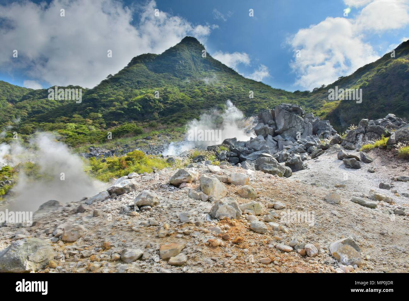 Hot spring vents at Owakudani valley at Hakone in Japan - Stock Image