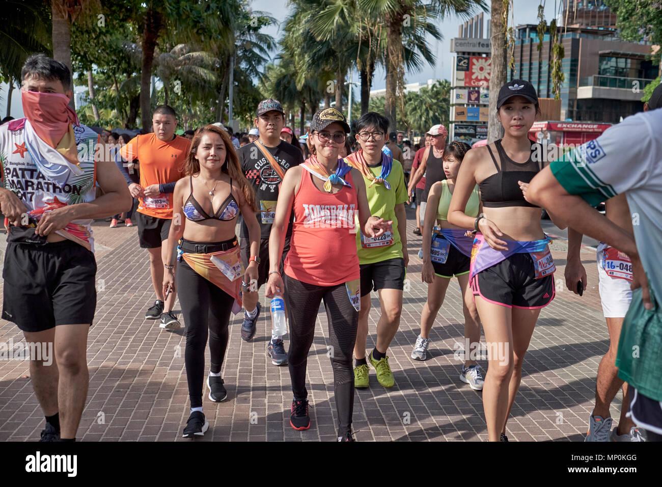 Bikini Fun Run with pregnant woman competing, Pattaya, Thailand, 2018 - Stock Image