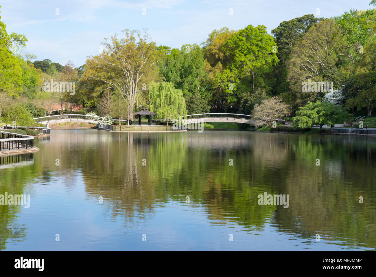 Bridges Over Lake in Pullen Park in Raleigh, North Carolina - Stock Image