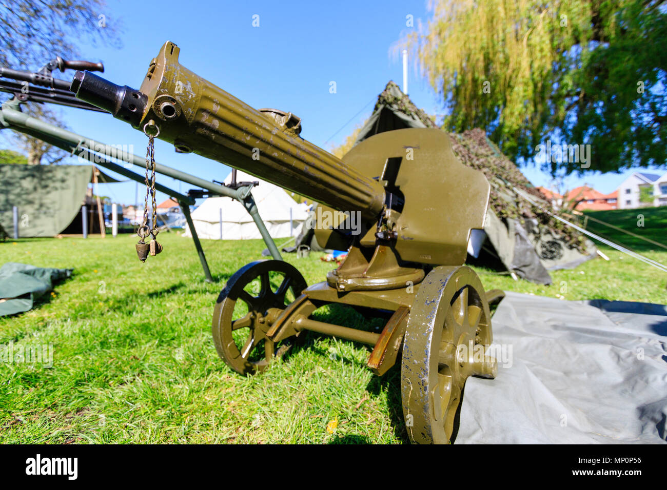 World war two Russian Maxim heavy machine gun with shield, on trolly wheels, at a popular salute to the 40s day at Sandwich, England. - Stock Image
