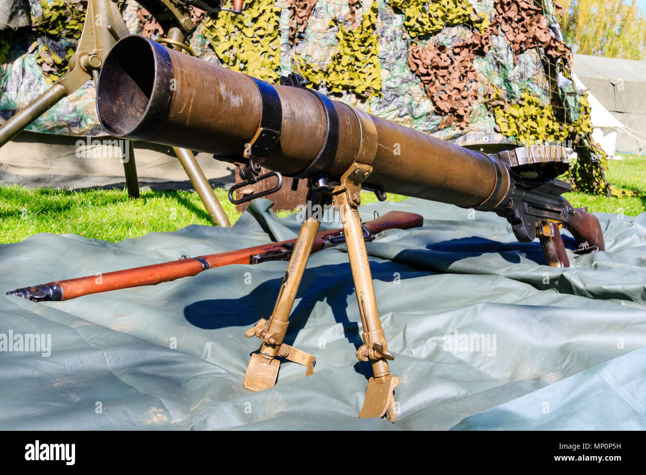 World war two British Lewis gun at a popular salute to the
