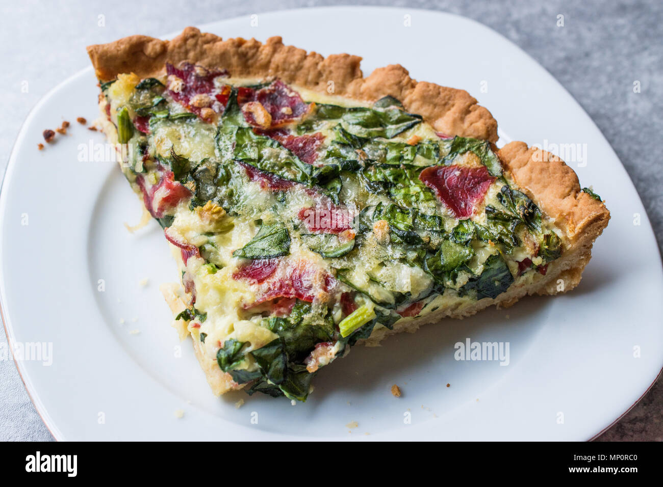 Quiche With Spinach Chard Pastrami And Cheese Traditional Food Stock Photo Alamy