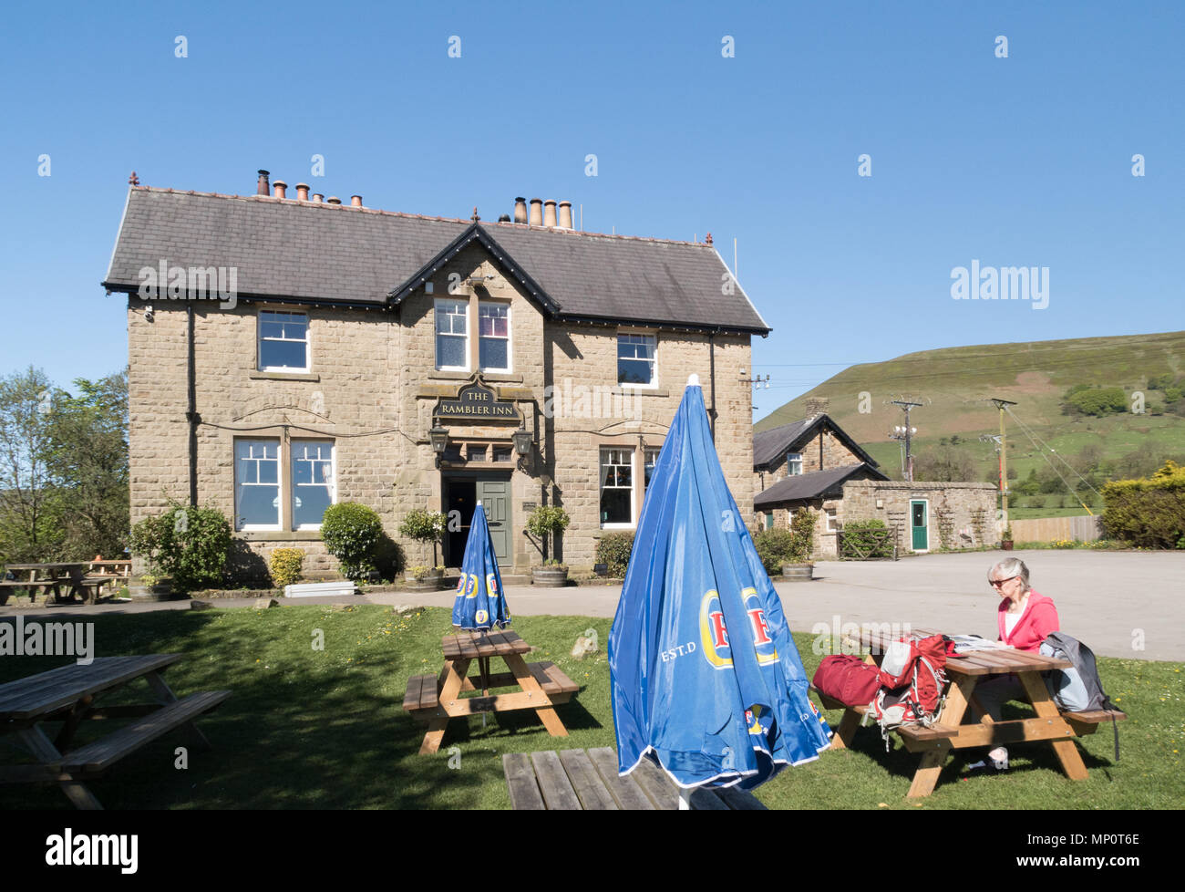 The Rambler Inn in Edale village in the Peak District - Stock Image