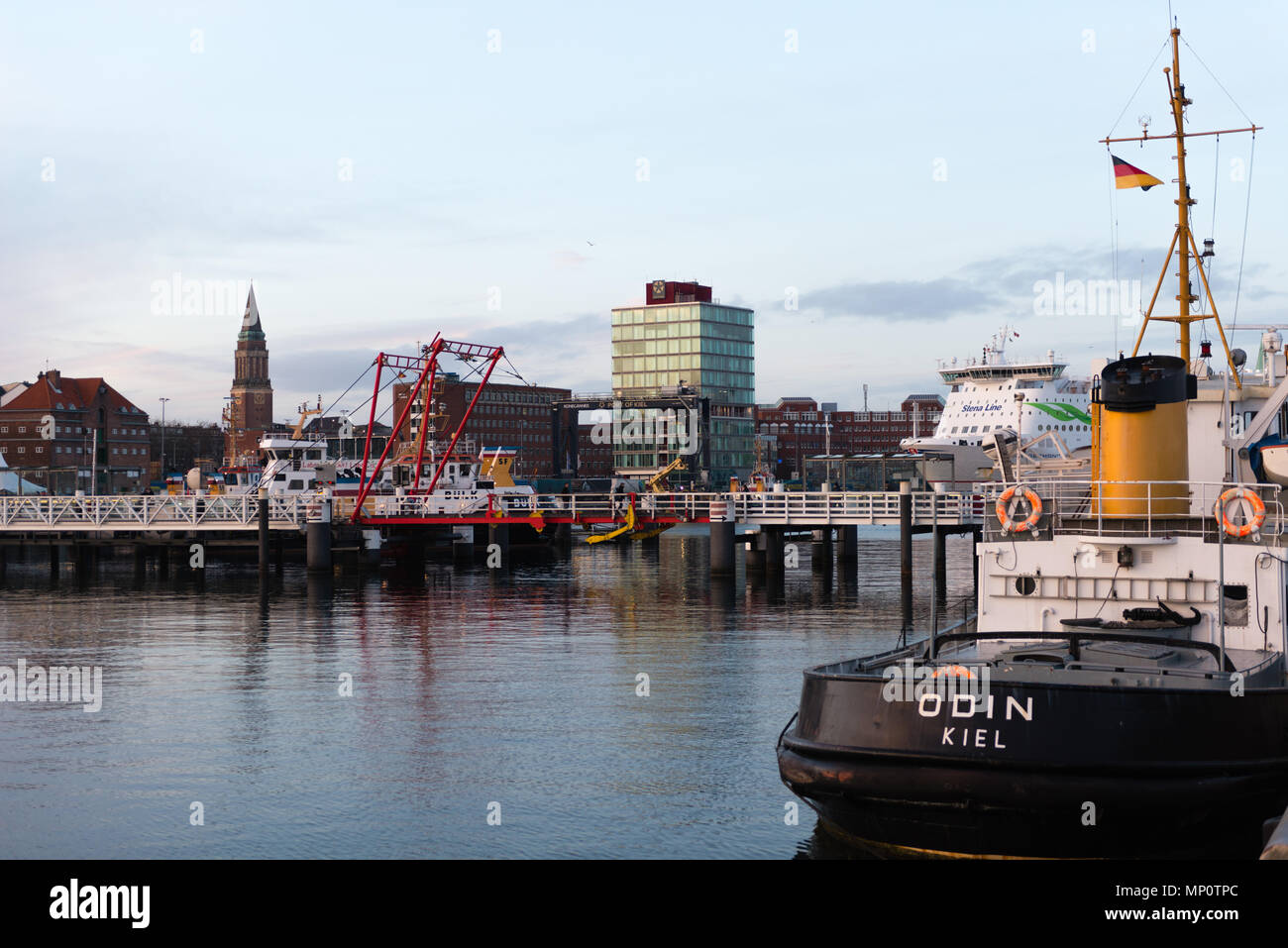 City view of Kiel with the end of the Kiel Fjord, the Hörn, and the flap bridge crossing the Hörn, Kiel, Schleswig-Holstein, Germany - Stock Image