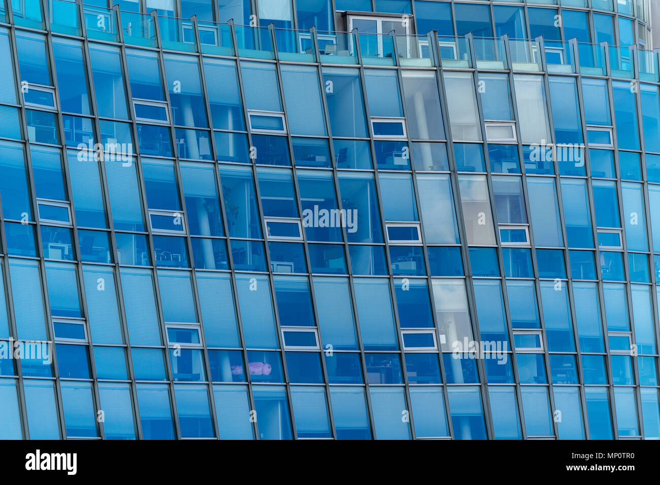 """Glass facade of the """"Hörn Campus"""", an office building, at the very end of the Kiel Fjord, Kieler Foerde,  Kiel, Schleswig-Holstein, Germany Stock Photo"""