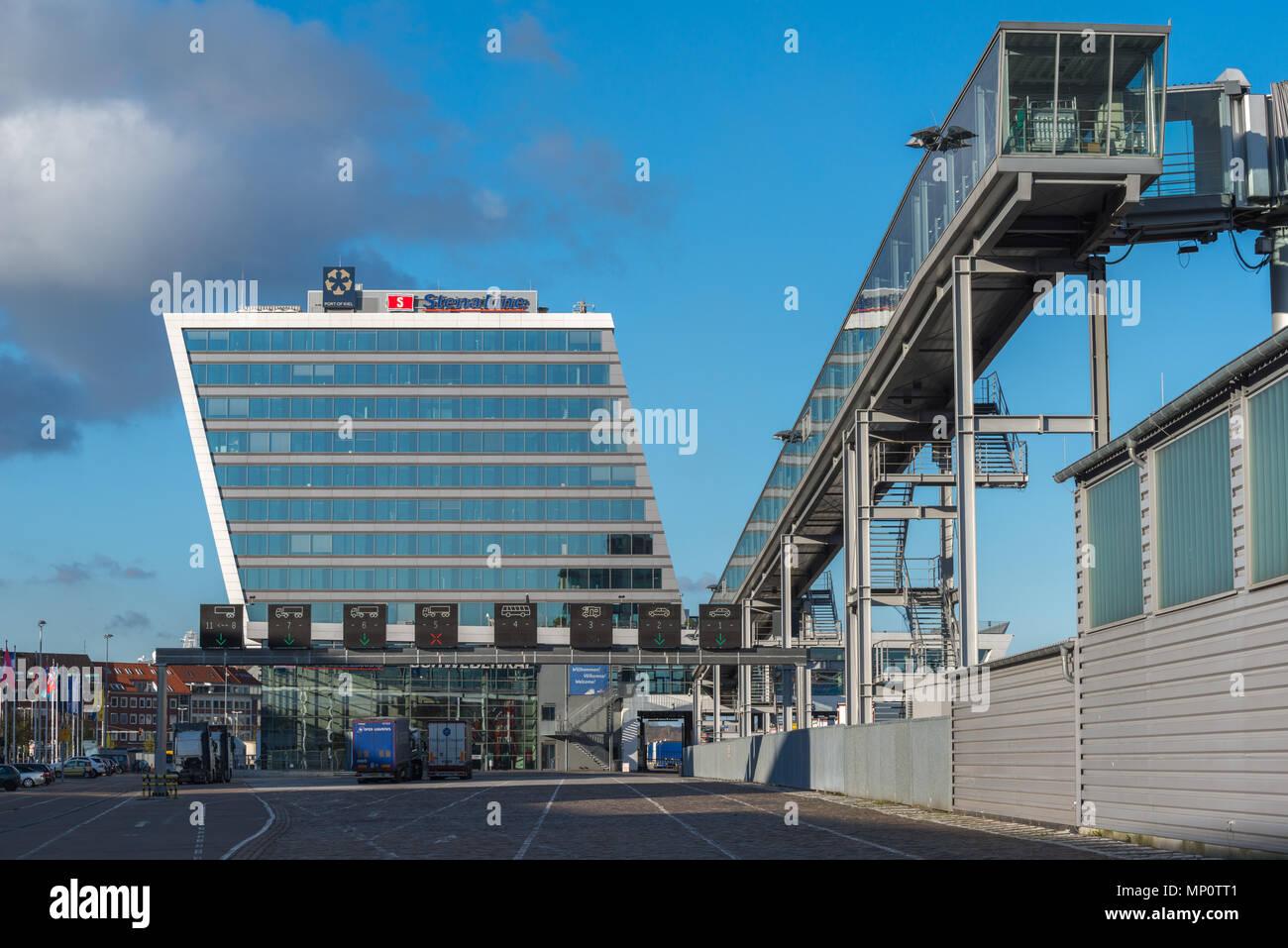 Lorries waiting at the check-in for the ferryboat to Sweden, Kiel, Schweden Kai or Sweden Pier, Kieler Hafen, Kiel Port, Schleswig-Holstein, Germany Stock Photo