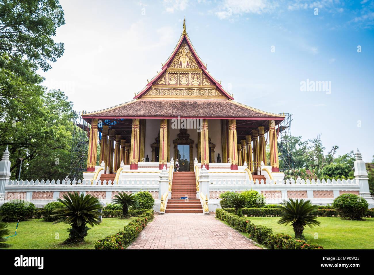 Wat Phra Kew Temple in Vientiane Laos - Stock Image