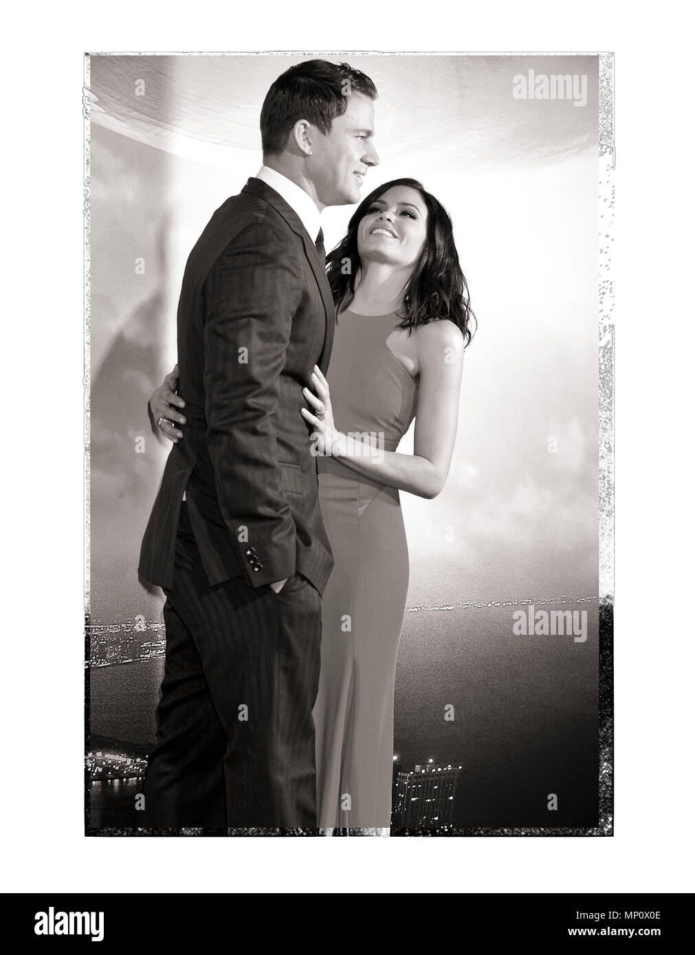 Channing Tatum and wife Jenna Dewan-Tatum  at the Jupiter Ascending Premiere at the TCL Chinese Theatre in Los Angeles. February 2, 2015.a_Channing Tatum and wife Jenna Dewan-Tatum  ------------- Red Carpet Event, Vertical, USA, Film Industry, Celebrities,  Photography, Bestof, Arts Culture and Entertainment, Topix Celebrities fashion /  Vertical, Best of, Event in Hollywood Life - California,  Red Carpet and backstage, USA, Film Industry, Celebrities,  movie celebrities, TV celebrities, Music celebrities, Photography, Bestof, Arts Culture and Entertainment,  Topix, vertical,  family from from - Stock Image