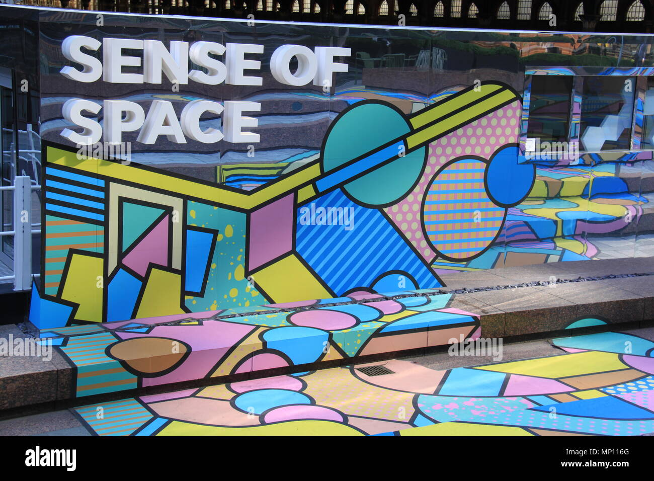 Sense Of Space: Free art installation challenging human sensory perceptions in Exchange Square, Broadgate, London, England, UK, PETER GRANT - Stock Image