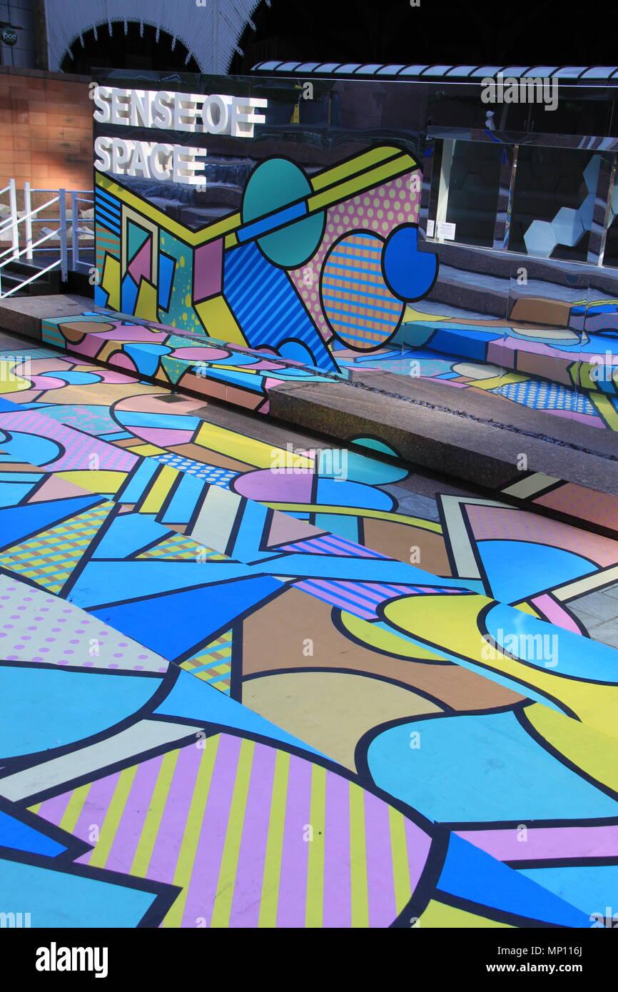 Sense Of Space: Free art installation challenging human sensory perceptions in Exchange Square, Broadgate, London, England, UK, PETER GRANT - Stock Image