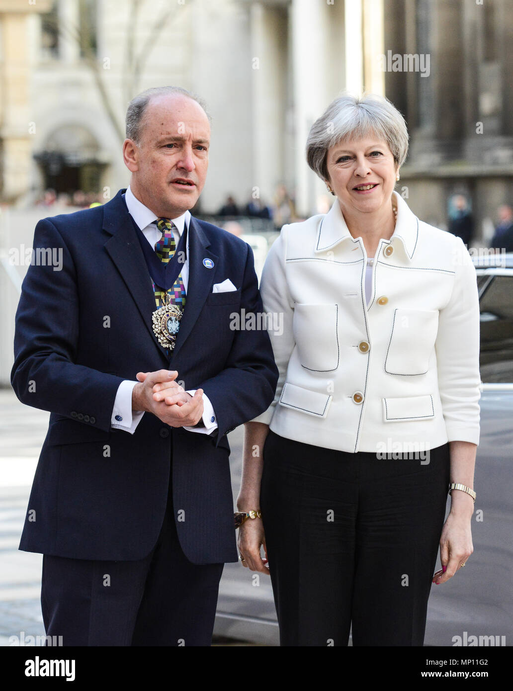 The Commonwealth Heads of Government Meeting 2018 in London, United Kingdom  Featuring: Lord Mayor Charles Bowman, Theresa May Where: London, United Kingdom When: 19 Apr 2018 Credit: WENN.com - Stock Image