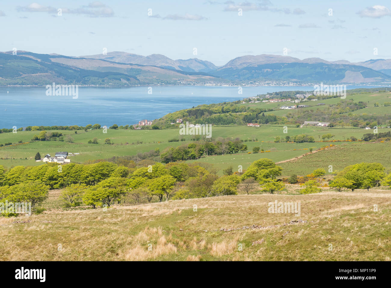 Cowal Penisula, Argyll and But, across the Firth of Clyde, view from Knock Hill, Largs, North Ayrshire, Scotland, UK - Stock Image