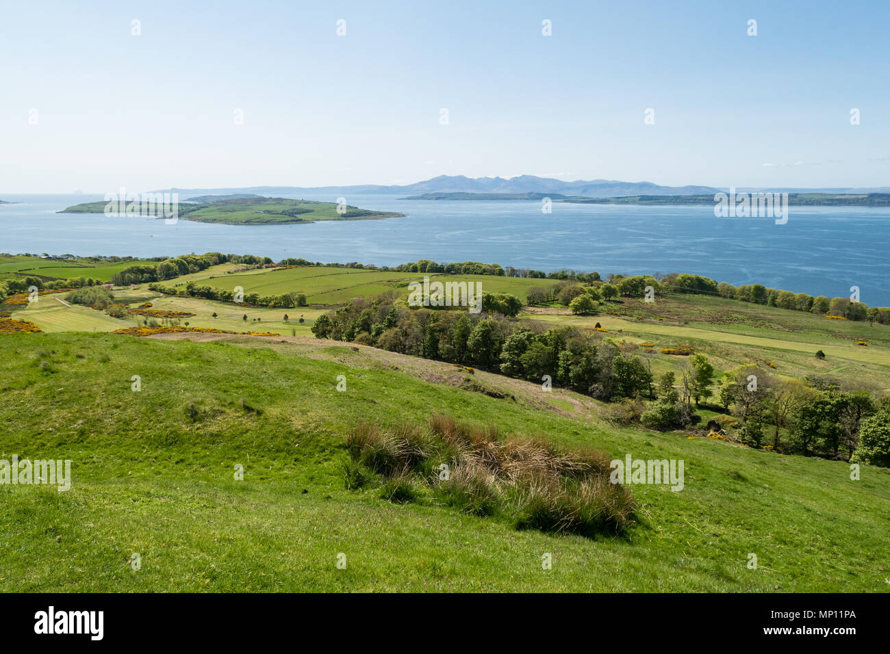 Routenburn Golf Club Largs with fantastic views over the Firth of Clyde, North Ayrshire, Scotland, UK - Stock Image