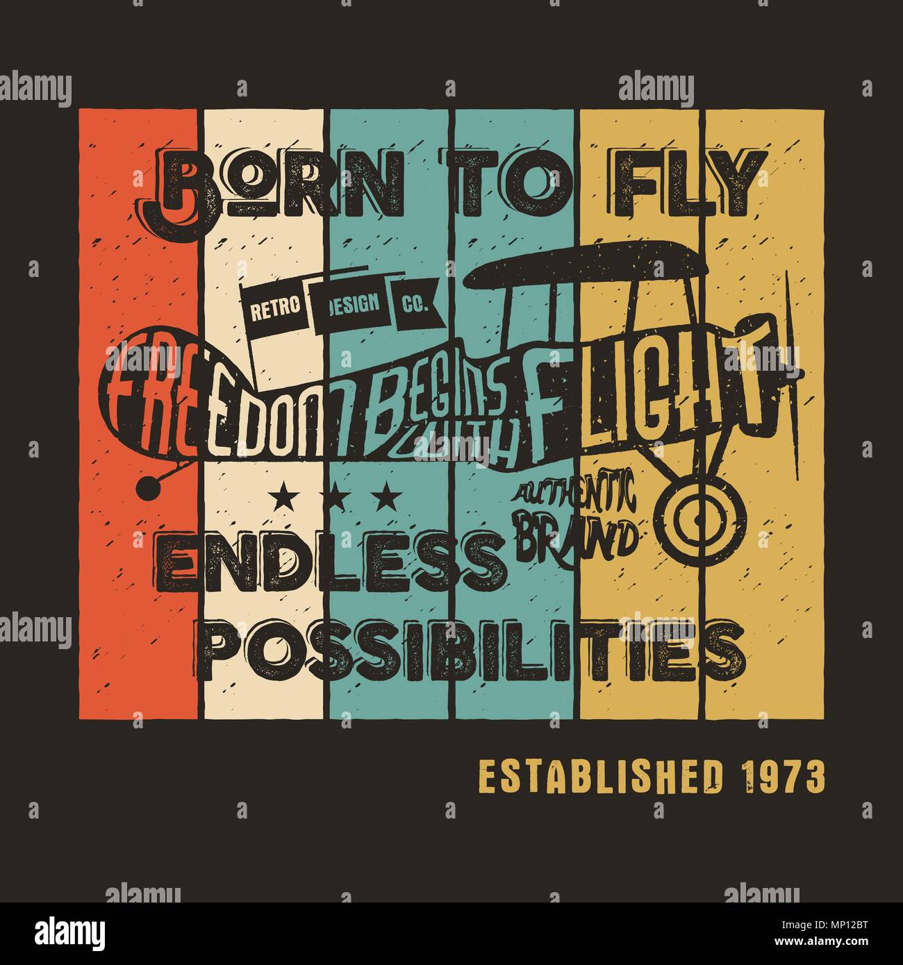 3a61a8d8 Vector prints, old school aircraft T-Shirt. Retro air show shirt design  with motivational text. Typography print design. Biplane, born to fly theme.