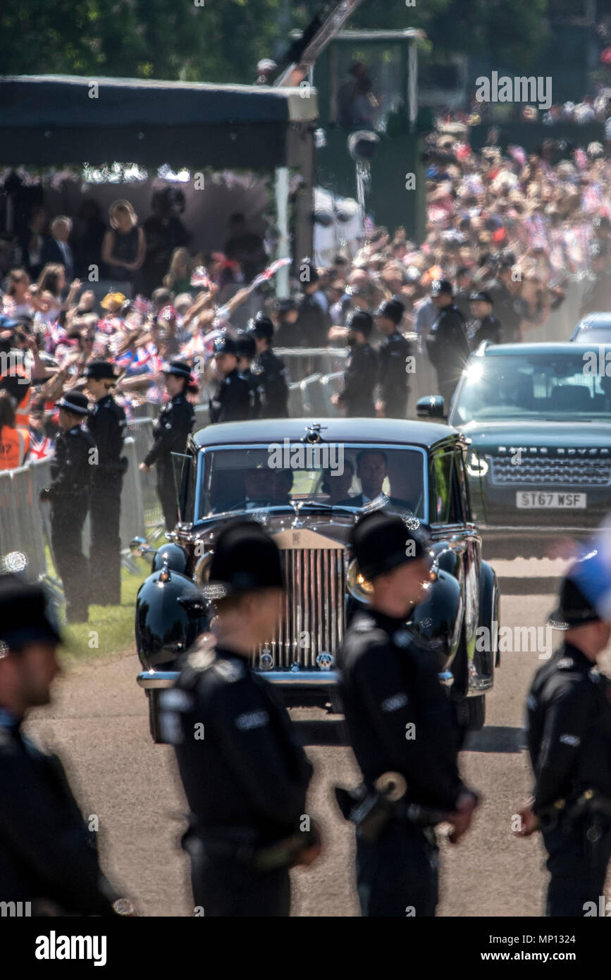 19 May 2018 - Prior to the royal wedding in Windsor castle to Prince Harry, Meghan Markle's mother, Doria Ragland, travelled with her to Windsor castle by car. Doria was photographed crying in the car. Stock Photo
