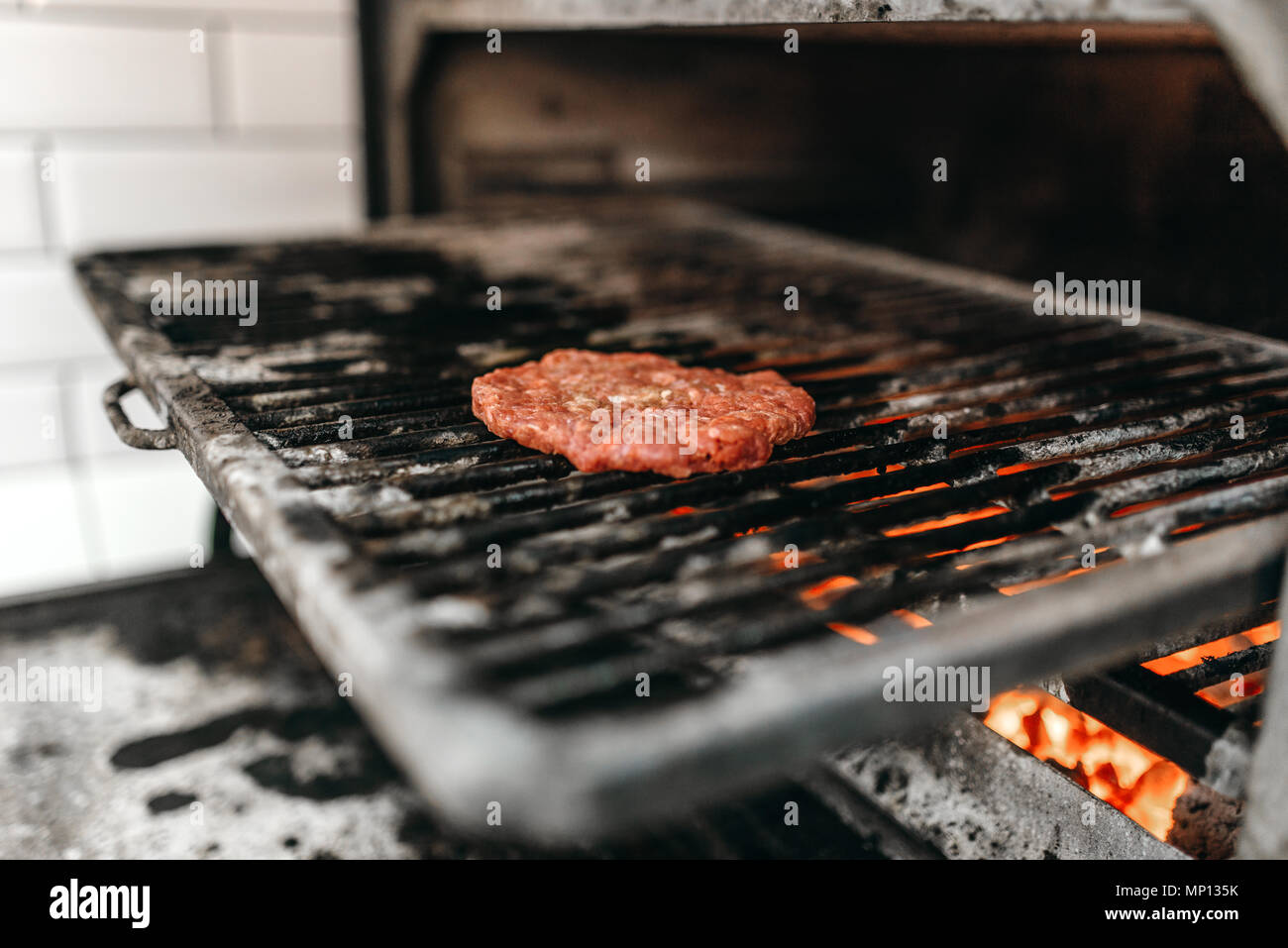 Meat On Grill Oven Burger Cooking Hamburger Preparation Process Fast Food Bbq Stock Photo Alamy