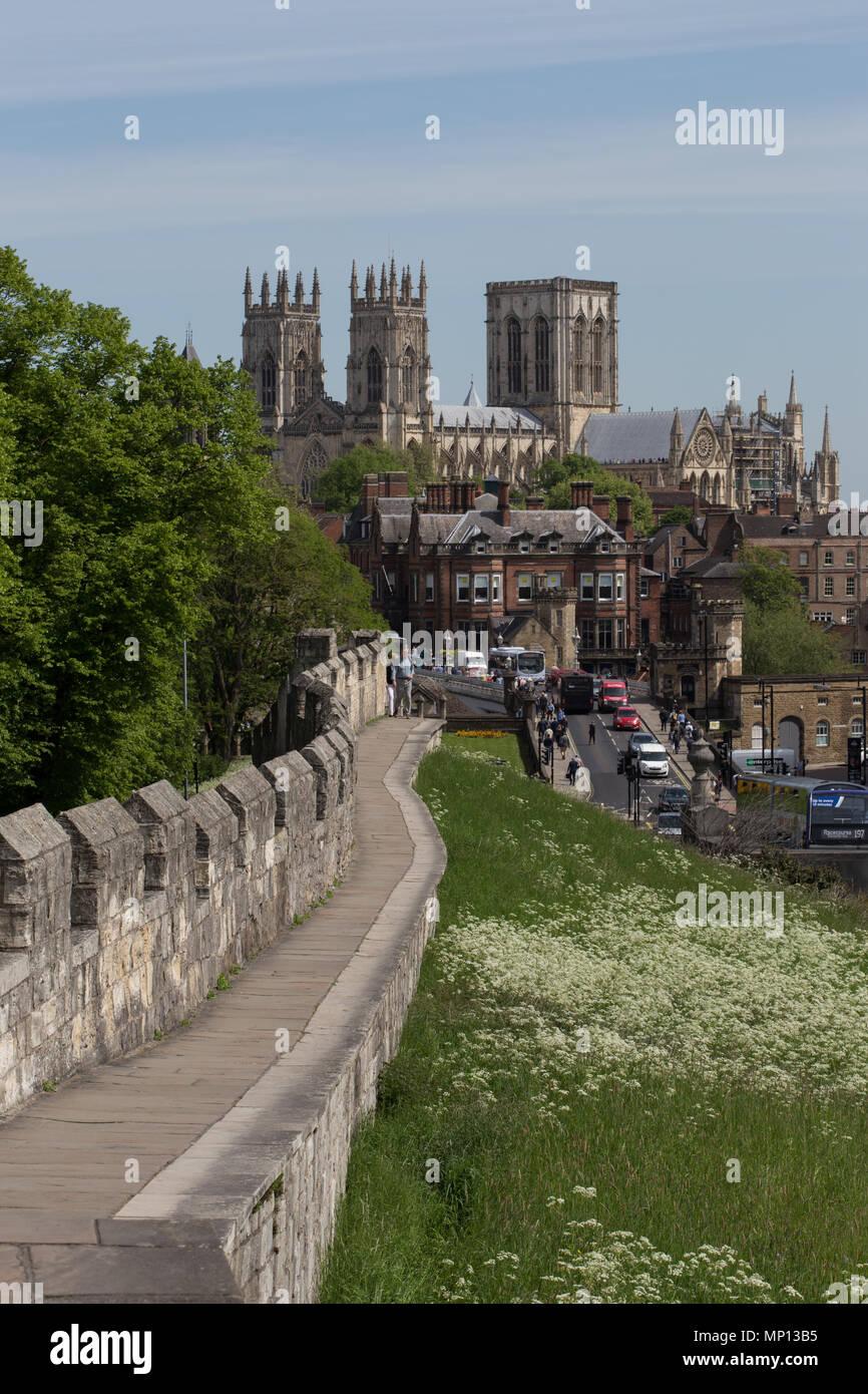 York Minster & Lendal Bridge from the roman city walls. - Stock Image