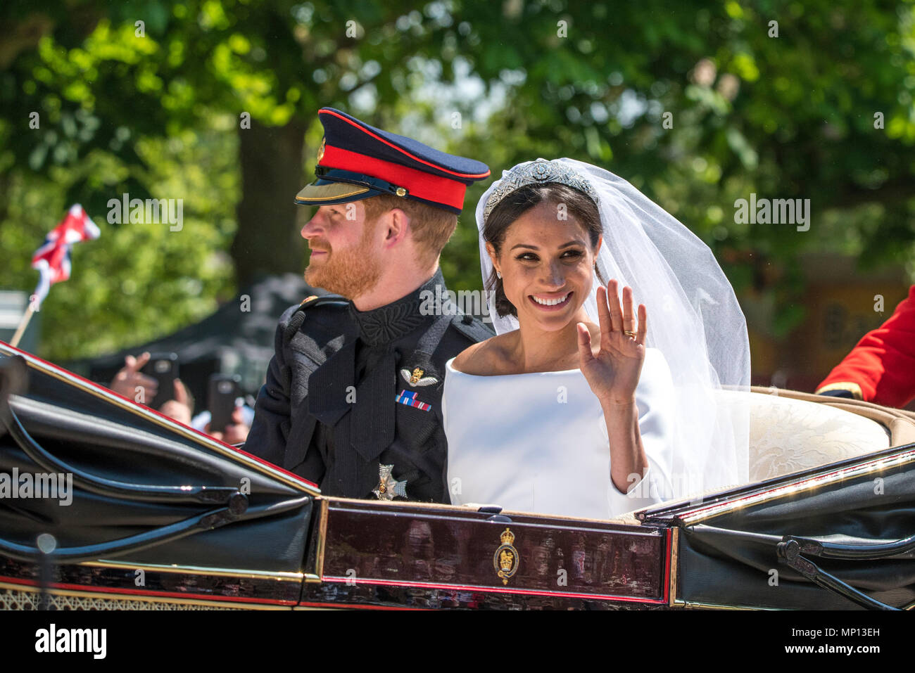 2c5bf8b48da9 19 May 2018 - TRH The Duke and Duchess of Sussex partake in their first  joint carriage ride around Windsor immediately after their royal wedding in  Windsor ...