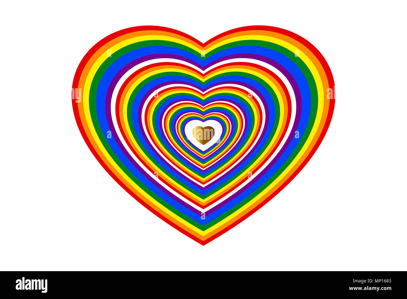Concepts of love, wedding, valentines, LGBTQ. Rainbow colored heart shape and center gold heart. - Stock Image
