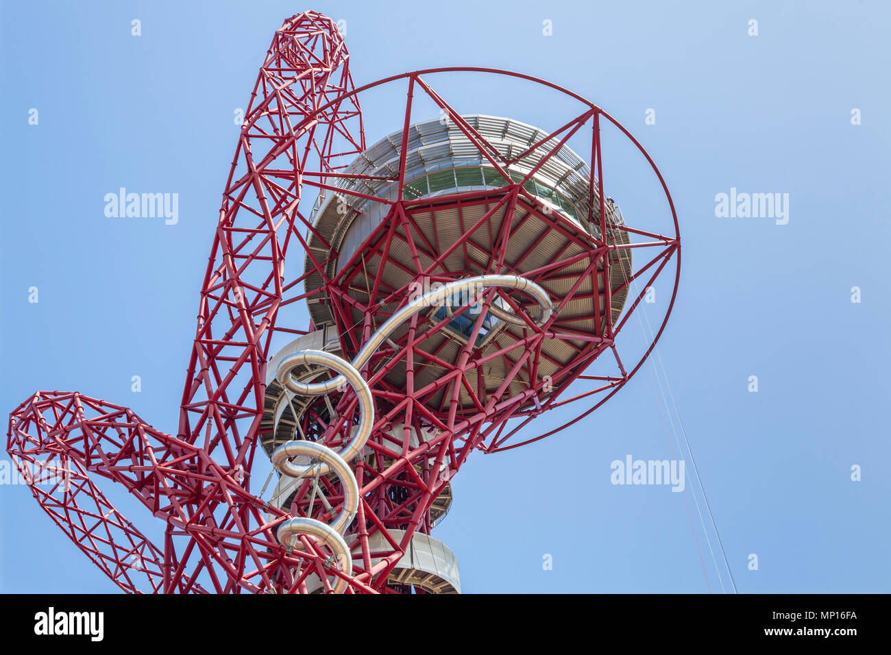 Arcelormittal Orbit sculpture, with the tallest and longest tunnel slide at the Queen Elizabeth Olympic park in London - Stock Image