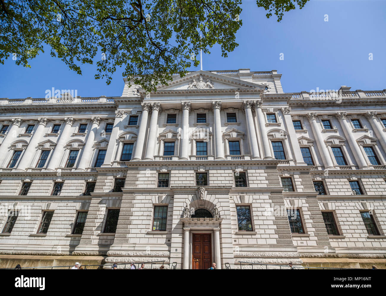 HM Treasury government building entrance, Whitehall. London, UK - Stock Image