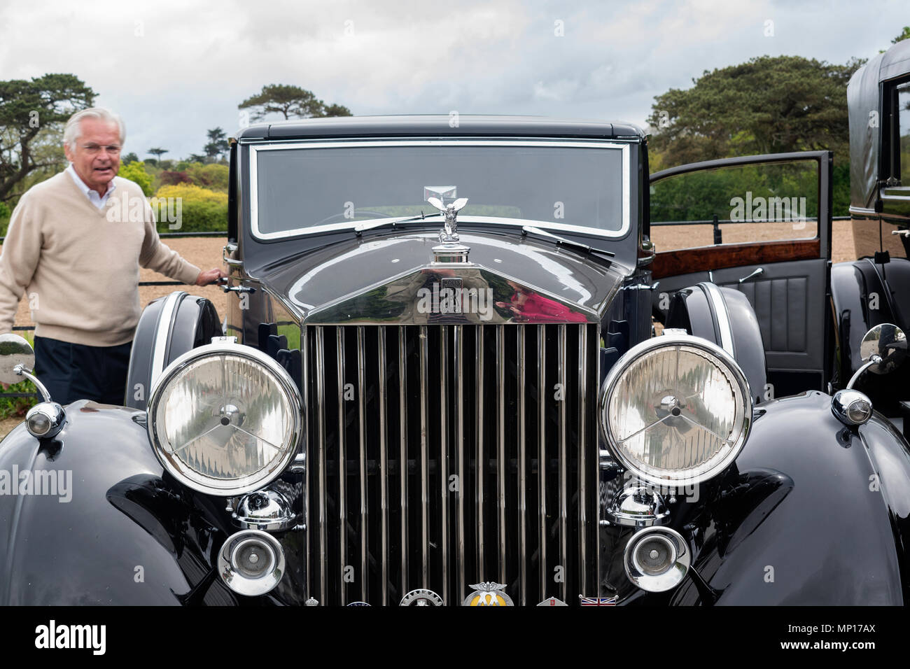 pre 1940 rolls royce phantom in cornwall, uk during the rolls royce 20 ghost club annual tour. - Stock Image