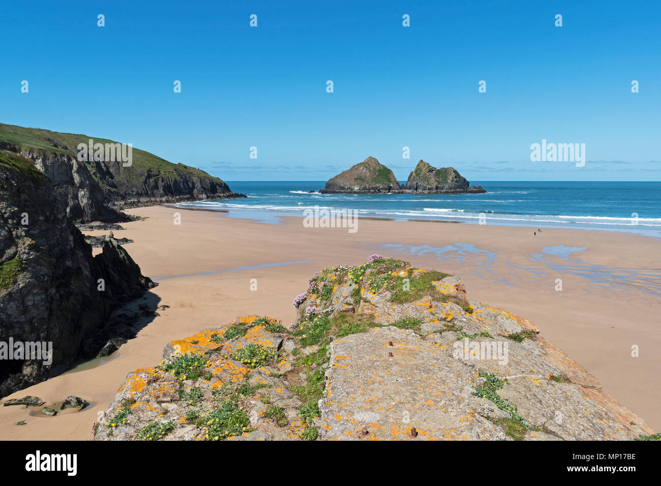 holywell bay in cornwall, england, britain, uk, the beach is used as a filming location for hit bbc tv series poldark. - Stock Image