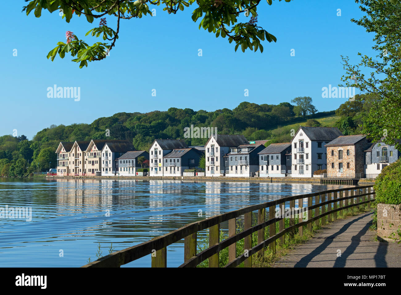 riverside homes apartments residential office premises, river fal, truro, cornwall, england, britain, uk. - Stock Image