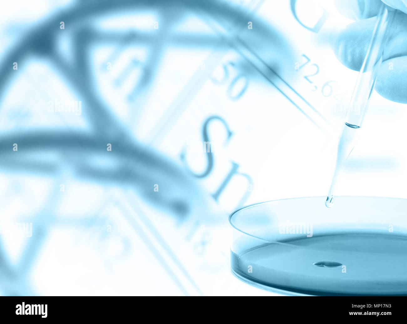 Researcher with petri dish and dna model over periodic table of the researcher with petri dish and dna model over periodic table of the elements research or science concept background urtaz Choice Image