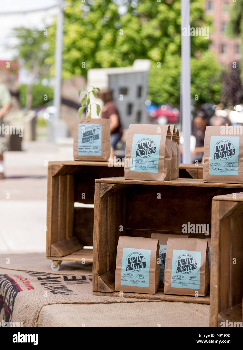 Yakima, Washington / USA - May 21, 2018: Basalt Roasters sell their single origin coffee at the downtown farmer's market on Sunday morning. - Stock Image