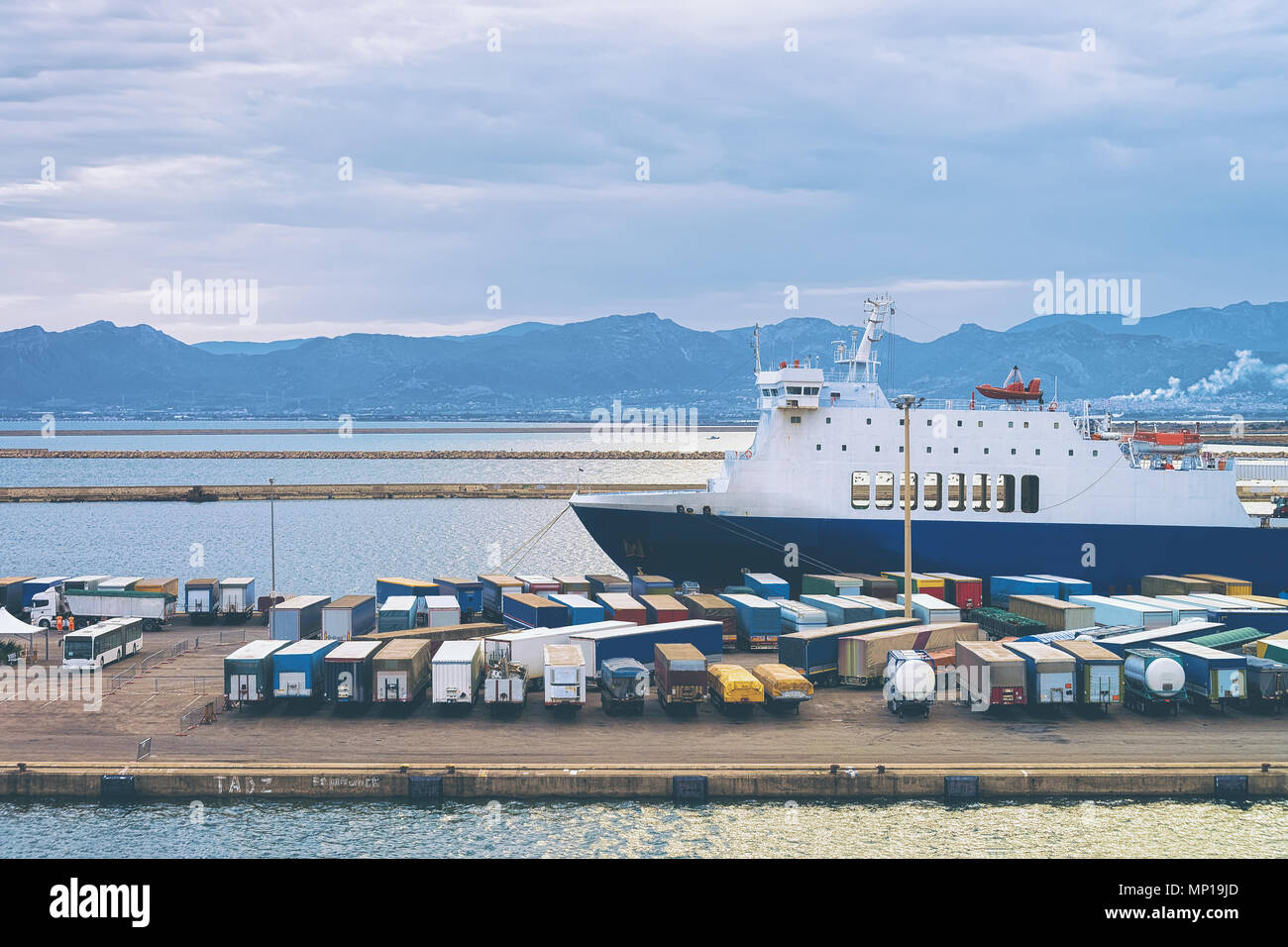 Waggons of vans in the port, Cagliari, Sardinia, Italy - Stock Image
