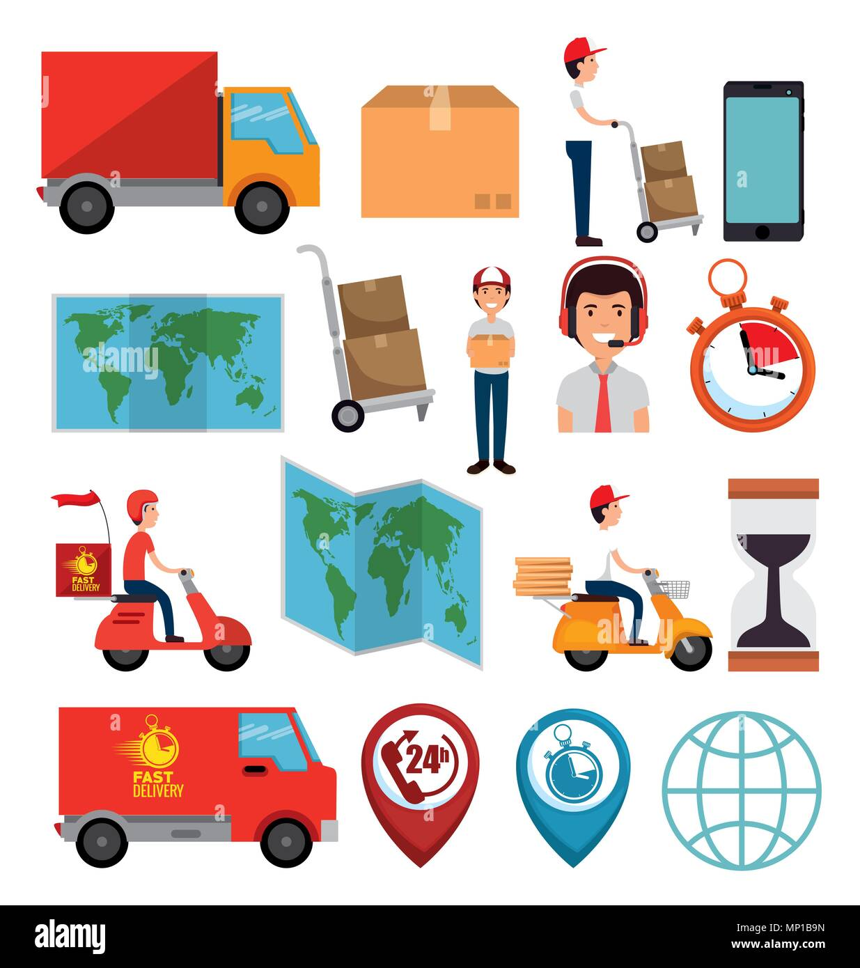 delivery service set icons - Stock Image