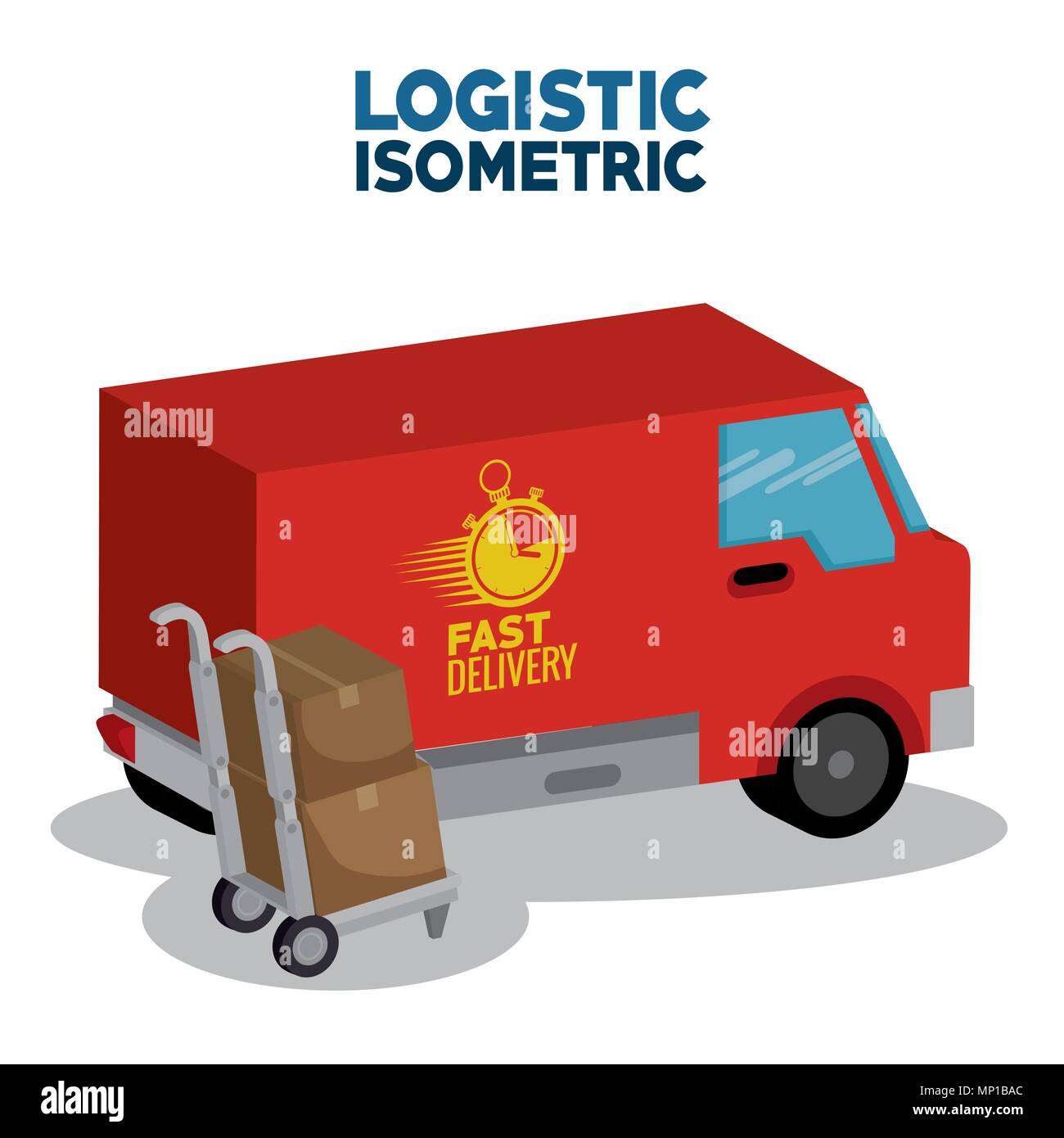 delivery service concept with van vehicle - Stock Image