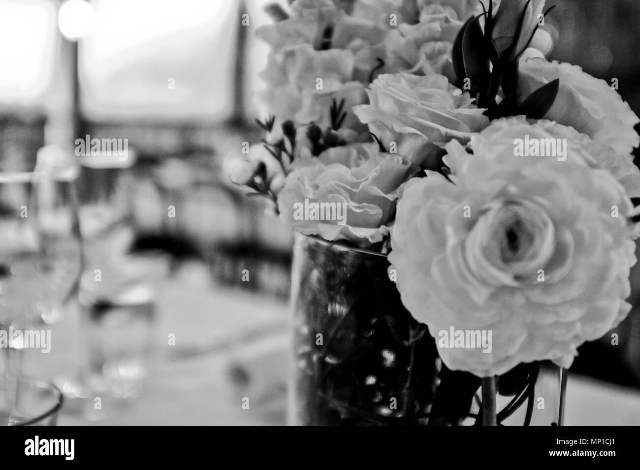 Stylish Black And White Photo Arrangement Greyscale Flowers Photo