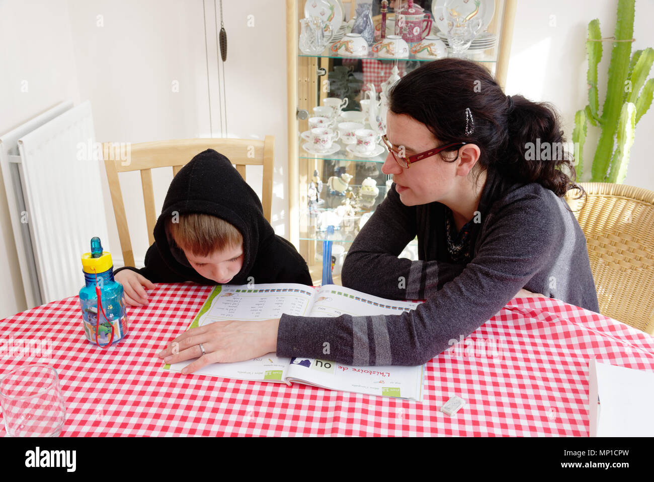 A mother teaching her son (5yrs old) to read - Stock Image