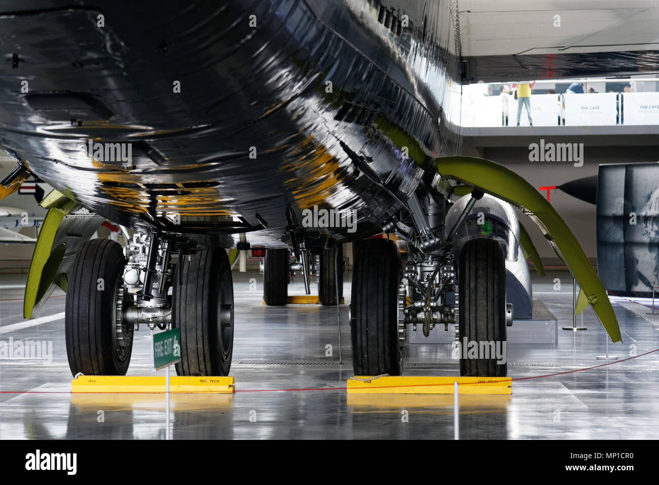 The undercarriage of the Boeing B-52 at Duxford Air Museum, Cambridgeshire, England - Stock Image